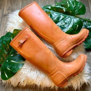 Hunter Orange Tall Rain Boots Sz 8